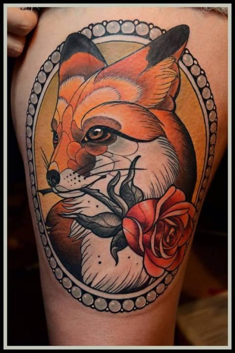 My Fox Tattoo by Yann Neumann from Lions Grave Tattoo © Yann Neumann