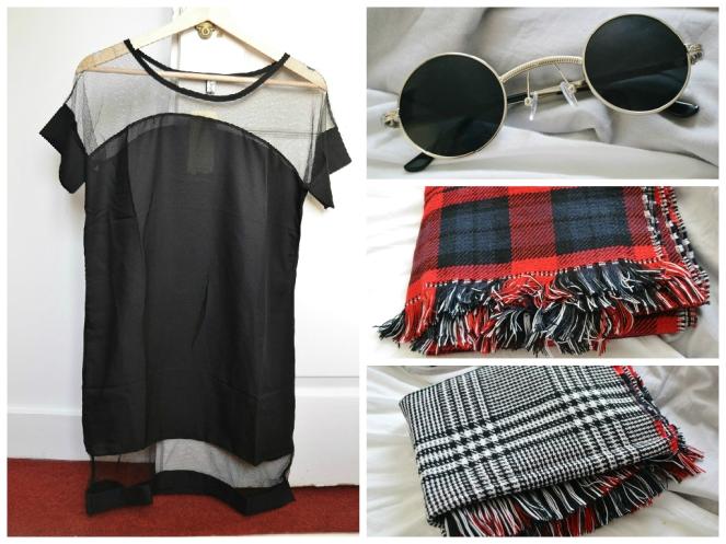 Dresslink dress, sunglasses and scarf