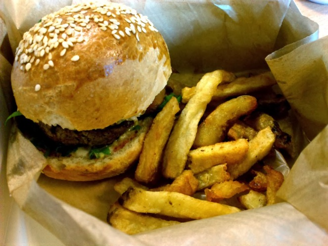 Classic burger and homemade french fries at La Cantine California