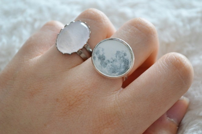 Full Moon and Pink Quartz rings - Kassydix